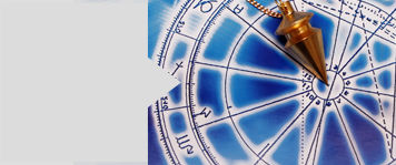 a pendulum lying on astrological background