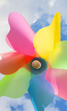A pinwheel against a blue sky